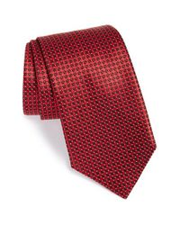 Ermenegildo Zegna | Textured Check Dot Silk Tie Red for Men | Lyst