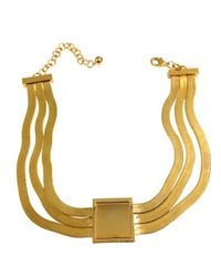 Tuleste - Metallic Gold Square Pendant With Gold Inlay On Three Snake Chain Necklace - Lyst