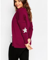 ASOS | Purple Swing Cardigan With Grey Star Elbow Patch | Lyst