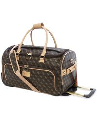 Guess Brown Logo Affair Dlx Rolling Duffel for men