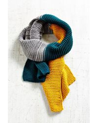 Urban Outfitters Green Colorblock Seed Stitch Scarf