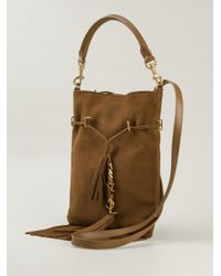 Saint Laurent - Brown Fringed Suede Cross-Body Bag - Lyst