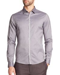 Saks Fifth Avenue | Gray Solid Sportshirt for Men | Lyst