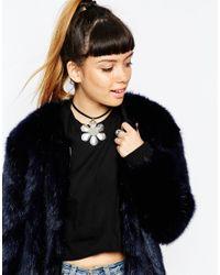 ASOS | Metallic Big Daisy Choker Necklace | Lyst