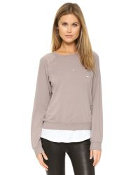 Monrow | Pink Distressed Double Layer Sweatshirt - Fawn | Lyst