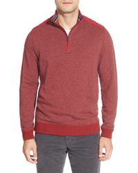 Bugatchi | Red Quarter Zip Mock Neck Knit Pullover for Men | Lyst