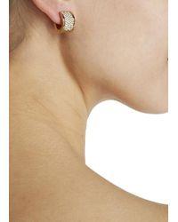 Michael Kors | Metallic Gold Tone Crystal Hoop Earrings | Lyst