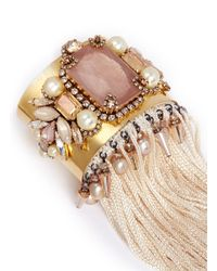 Erickson Beamon | Metallic 'stratosphere' Pearl Crystal Fringe Bead Cuff | Lyst