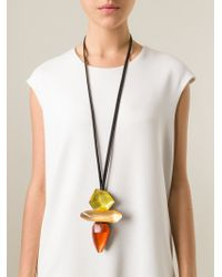Monies | Black Chunky Resin Pendant Necklace | Lyst