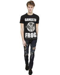 Philipp Plein Black Gangsta Frog Cotton T-Shirt for men