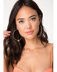 Bebe - Metallic Baguette Hoop Earrings - Lyst
