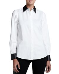 Go> By Go Silk White Shirt With Faux Leather Trim