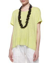 Eileen Fisher - Yellow Short-sleeve Scoop-neck Box Top - Lyst