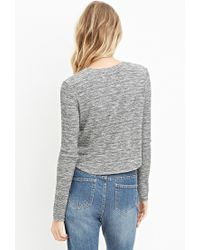 Forever 21 - Gray Marled Curved-hem Boxy Top - Lyst