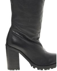 ASOS - Black Campaign Leather Knee High Boots - Lyst