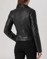 Reiss Black Jacket - Topaz Quilted Leather Biker