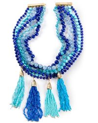 Rosantica - Blue Beaded Tassel Choker Necklace - Lyst
