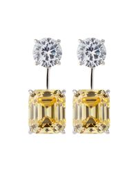 Fantasia by Deserio | Metallic 18k Gold-plated Two-tone Cz Drop Earrings | Lyst