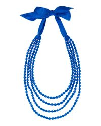 Toast | Blue Silk Wrapped Bead Necklace | Lyst