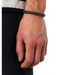 Bottega Veneta | Black Oxidised-Silver And Leather Bracelet for Men | Lyst