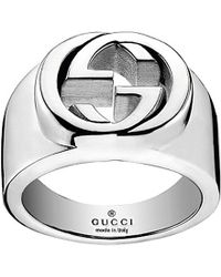 Gucci | Metallic Interlocking G Sterling Silver Ring - For Women | Lyst