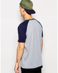 ASOS Blue T-shirt With Raglan Sleeves In Premium Fabric With Hem Extender for men