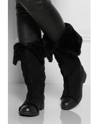 See By Chloé   Black Shearling Lined Suede Boots   Lyst