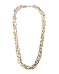 Gardenia Metallic Gold-Tone & Champagne Freshwater Pearl Necklace