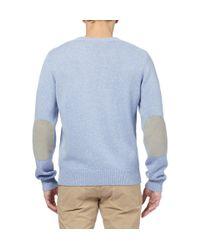 Façonnable | Blue Nubuck Elbow Patch Cashmere And Cotton-Blend Sweater for Men | Lyst