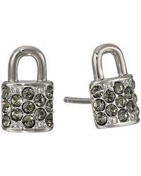 COACH | Metallic Pave Padlock Stud Earring | Lyst