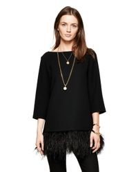 kate spade new york | Black Feather Top | Lyst
