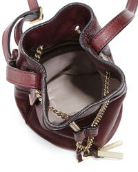 Halston - Purple Chain Handle Leather Mini Bucket Bag - Lyst