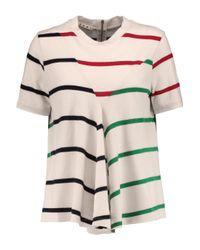 Marni White Striped Wool-jersey T-shirt