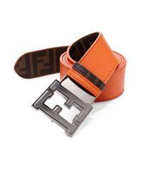 Fendi | Orange Colorado Zucca Reversible Belt for Men | Lyst