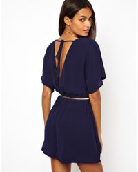 Little Mistress - Blue Playsuit with Open Back - Lyst