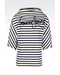 Armani Jeans | Black Sweatshirt With Striped Pattern | Lyst