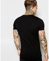 ASOS Black Extreme Muscle Fit T-shirt With V Neck And Stretch for men