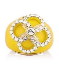 Nina Ricci Yellow Goldtone Resin and Crystal Ring