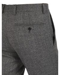 Façonnable Gray 18Cm Checked High Twist Wool Trousers for men