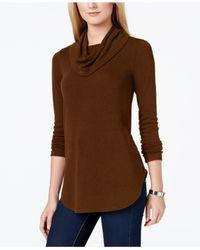 Karen Kane | Brown Cowl-neck Light Weight Sweater | Lyst
