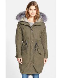 Andrew Marc | Green Oversize Army Parka With Genuine Fox Fur Trim & Rabbit Fur Liner | Lyst