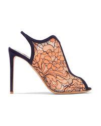 Nicholas Kirkwood Orange Suede-trimmed Lace And Mesh Sandals