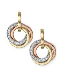 Michael Kors Metallic Tritone Crystal Pave Ring Earrings
