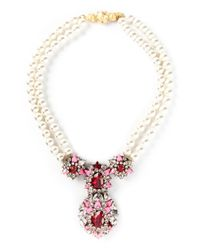 Shourouk | Pink 'swan' Necklace | Lyst
