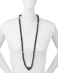 Nest - Long Faceted Black Line Agate Necklace - Lyst