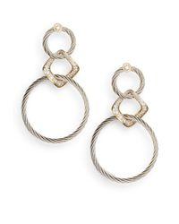 Charriol Metallic Celtic Classique Diamond & Stainless Steel Link Drop Earrings