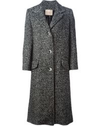 Erika Cavallini Semi Couture - Black Herringbone Coat - Lyst