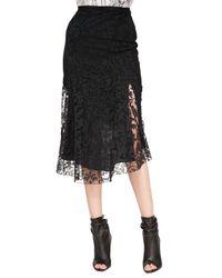Burberry Prorsum - Black Fluted Lace Midi Skirt - Lyst