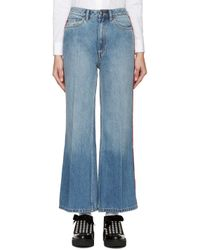 Marc By Marc Jacobs Blue & Red High-wasted Flared Jeans