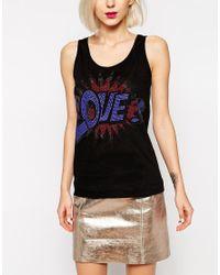 Love Moschino | Black Love Pop Embellished Sleeveless Vest | Lyst